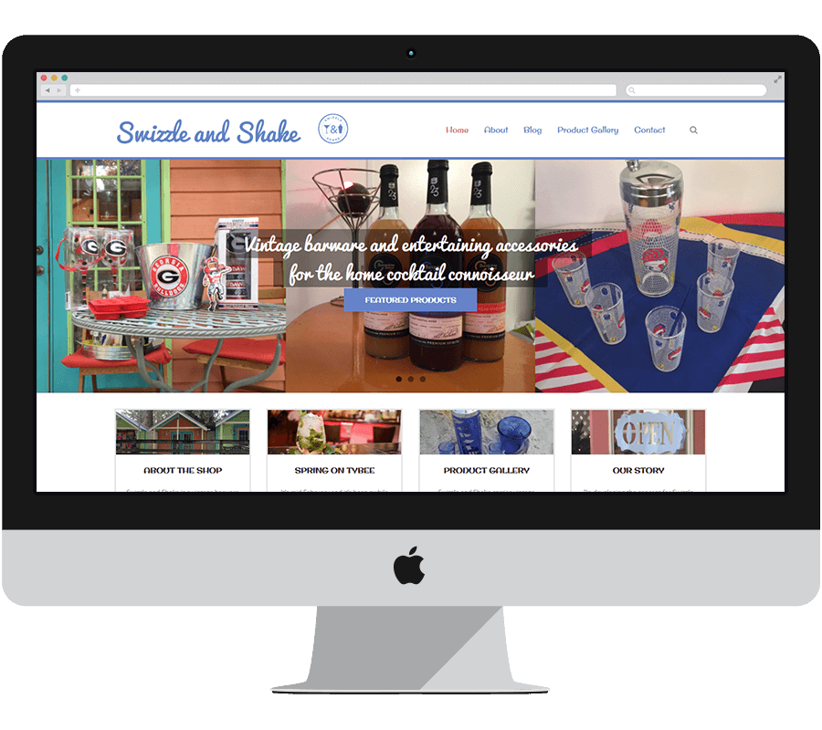 Website design portfolio: Swizzle and Shake