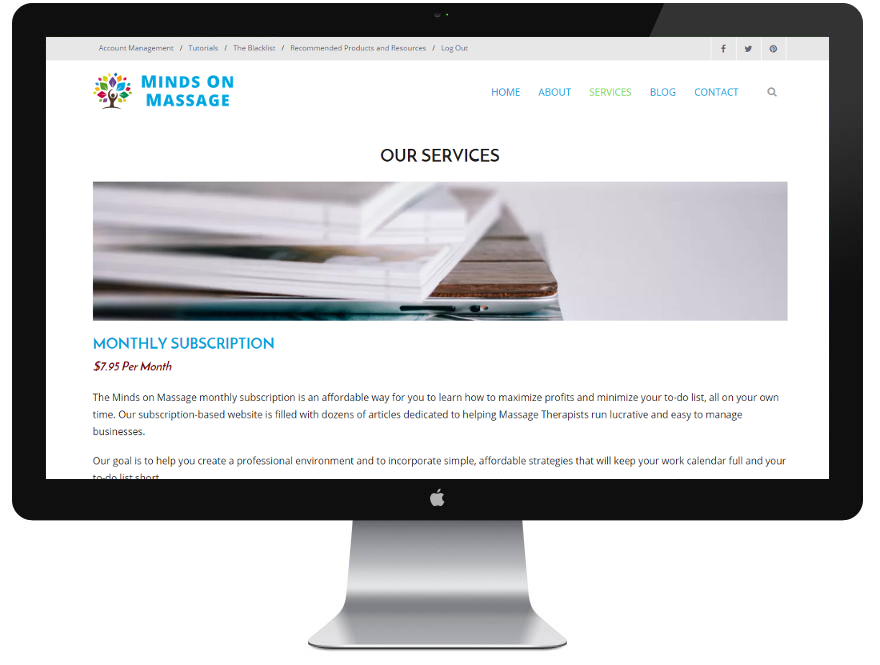 Website design: Minds on Massage services page