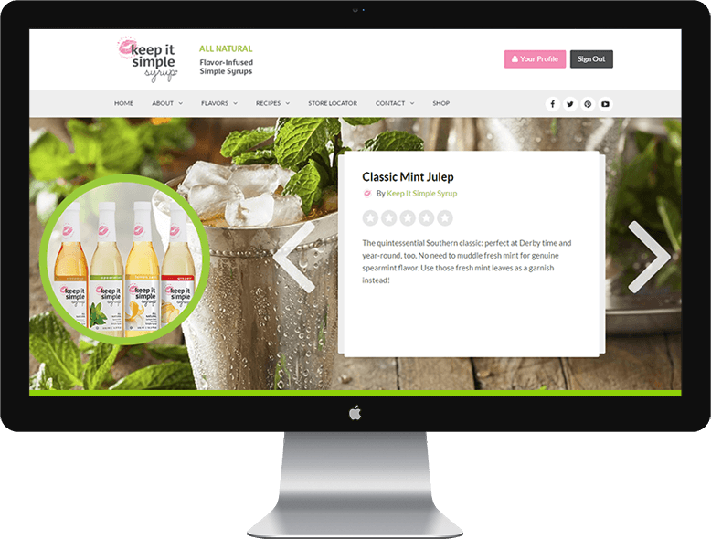ecommerce website developed by 9pm Studios for Keep It Simple Syrup