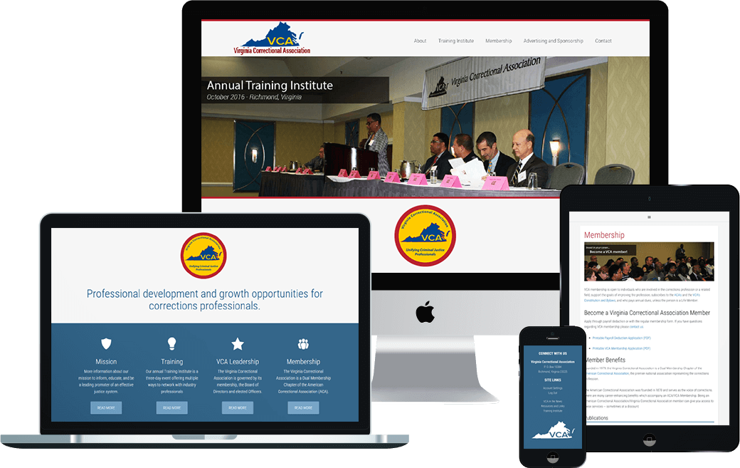 Nonprofit website design portfolio: Virginia Correctional Association