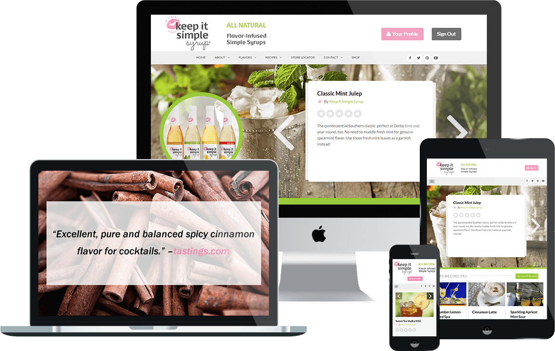 WordPress ecommerce website design portfolio: Keep It Simple Syrup